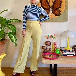 Vintage 70s banana yellow high waisted flares M